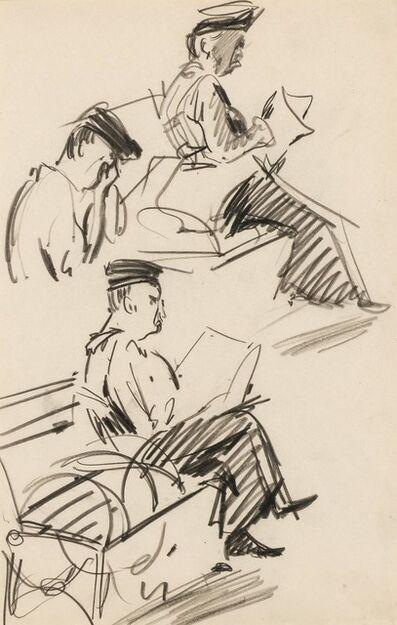 George Benjamin Luks, 'Study of Men Reading', circa 1910