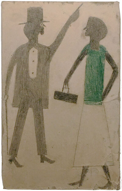 Bill Traylor, 'Man Pointing, Woman in Green', about 1939-42