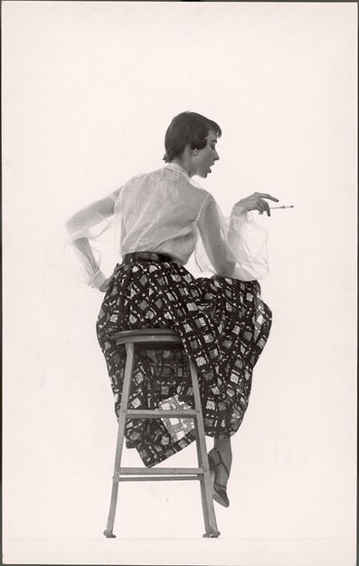 Gjon Mili, 'Model Dorian Leigh Wearing White Organdy Shirt with Full Print Skirt by Ceil Chapman (face seen in profile)', 1950