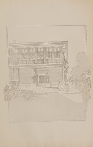 Frank Lloyd Wright, 'Bank and office building for the City National Bank, Mason City, IA; Plate XLIX from the Wasmuth Portfolio', 1910