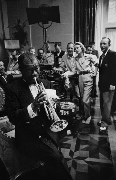 Bob Willoughby, 'Louis Armstrong, Bing Crosby & Grace Kelly, on the set of 'High Society' at MGM Studios', 1950