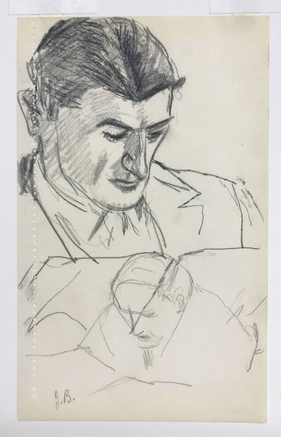 Julius Bloch, 'Two Views of a Man Reading', 1936