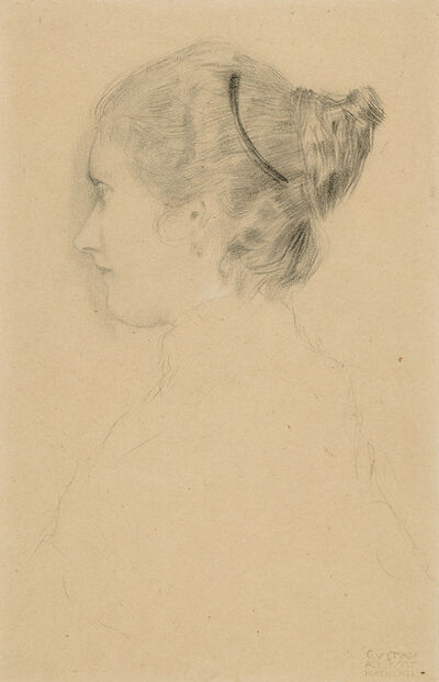 Gustav Klimt, 'Portrait of a Girl in Profile to the Left', 1897-1898