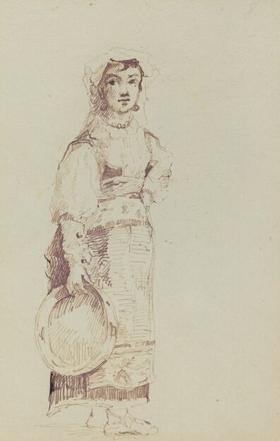 Jean-Louis-Ernest Meissonier, 'Woman with a Tambourine (verso)', ca. 1860