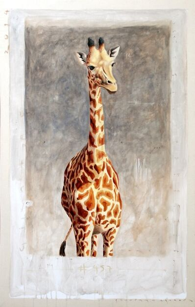 """Santiago Garcia, '""""#457"""" Portrait of Giraffe with Neutral Gray Background and Exposed Canvas ', 2010-2017"""