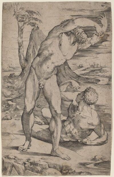 Domenico Beccafumi, 'Two Male Nudes Gesturing in a Landscape', ca. 1537