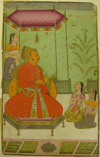 'Enthroned Maharaja Abhai Singh (1702-49) with Attendants', 1725-1750
