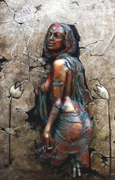 Sanatan Dinda, 'Durga, Hindu Goddess, Acrylic & Fibreglass on canvas by Contemporary Artist Sanatan Dinda'