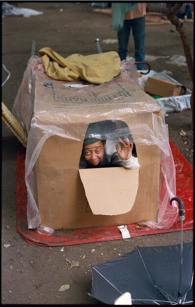 Clayton Patterson, 'Untitled (Tent city - woman in box in 1990)', 2007