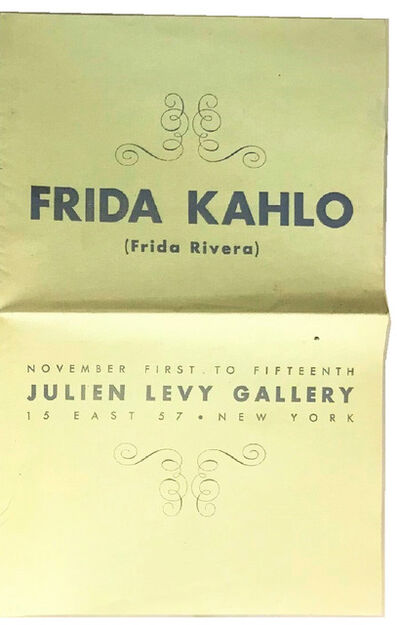 "Frida Kahlo, '""Frida Kahlo (Frida Rivera)"", 1938, RARE Exhibition Catalogue, Julien Levy Gallery NYC.', 1938"