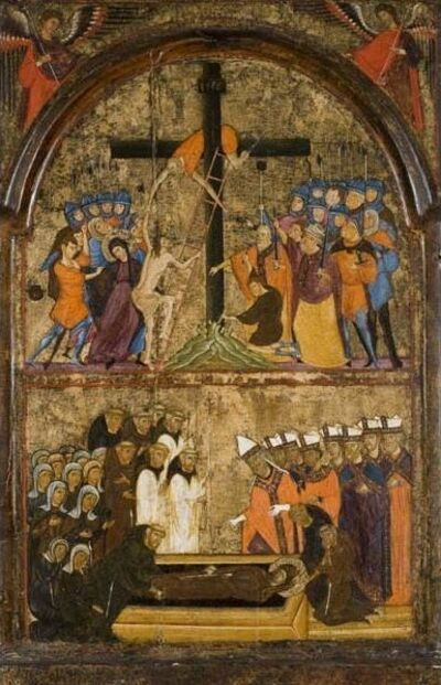 Unknown Artist, 'Christ Mounting the Cross and the Funeral of Saint Clare', ca. 1290