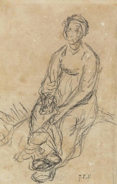 Jean-François Millet, 'A seated peasant woman (recto); A fragmentary study of the lower half of a seated woman (verso)'