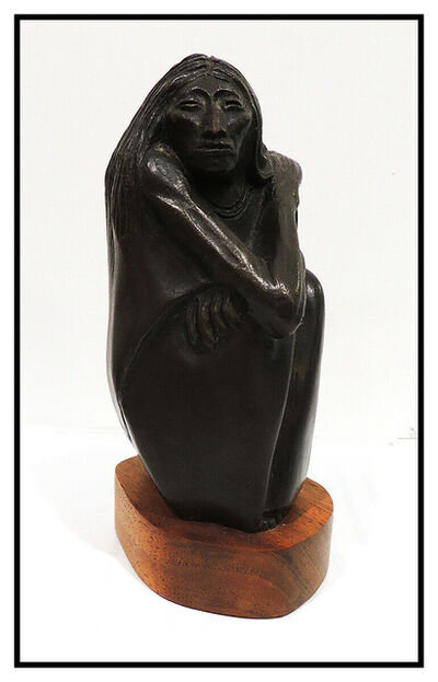 Allan Houser, 'Allan Houser Bronze Full Round Sculpture Signed The Old One Woman Female Artwork', 1973