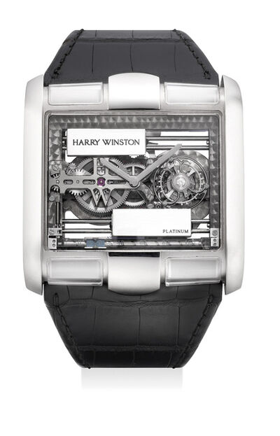 Harry Winston, 'A fine and exceptional limited edition white gold skeletonized rectangular tourbillon wristwatch with unusual self-winding platinum sliding blocks, numbered 8 of a limited edition of 25 pieces', Circa 2005