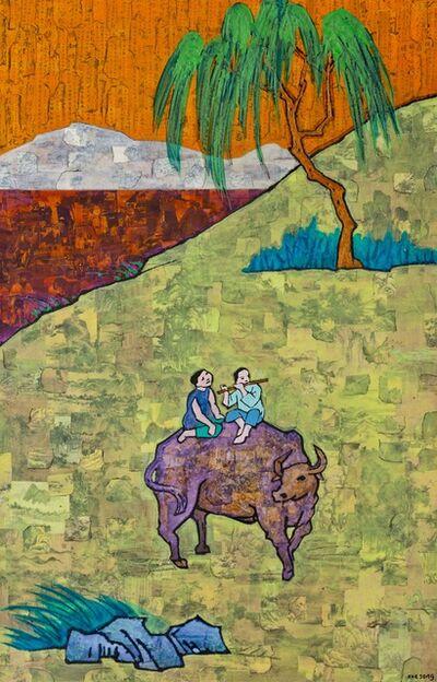 Xue Song 薛松, 'Feng Zikai New Interpretation of Old Verses 豐子愷詩意 - 老牛亦是知音者,橫笛聲中緩步行', 2019