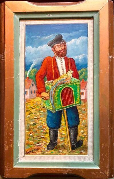 Maurice Kish, 'Organ Grinder with Parrot Modern Judaica Oil Painting WPA Jewish artist', Mid-20th Century