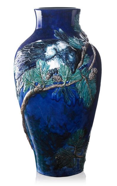 Alf Wallander, 'Exceptional floor vase with magpies on pine branches, Sweden', ca. 1899