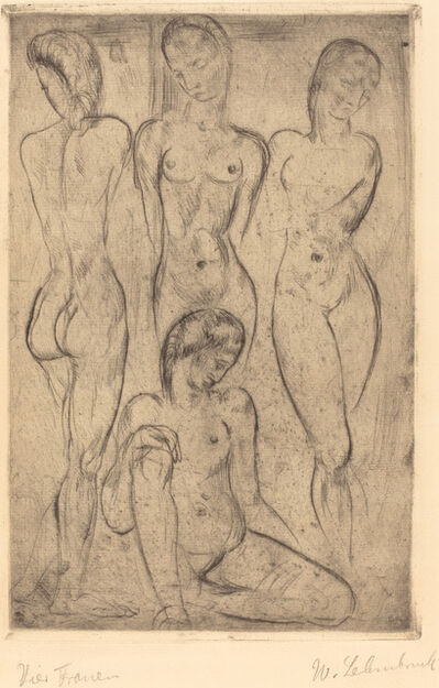 Wilhelm Lehmbruck, 'Four Women; Three Standing, One Sitting (VierFrauen; drei stehend, eine sitzend)', 1913