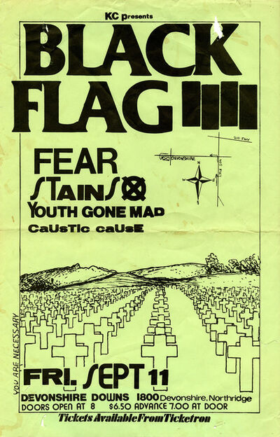 Raymond Pettibon, 'Raymond Pettibon illustrated Black Flag flyer 1981 (Pettibon prints)', 1981