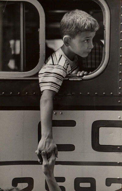 Rae Russel, 'Ronnie L. holds his mother's hand before leaving for camp', 1954-printed later