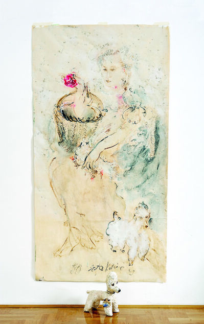 SRĐAN VUKČEVIĆ, 'Portrait with a Rose and a Poodle', 2009
