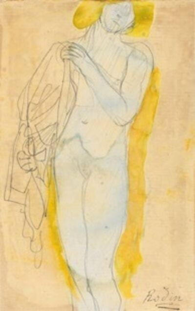 Auguste Rodin, 'Nude Woman with blond hair holding a costume (antique style)', 1890