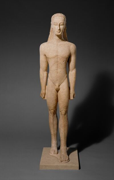 Unknown Greek, 'Marble statue of a kouros (youth)', ca. 590–580 B.C.