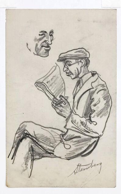 harry sternberg, 'Man with Glasses, Reading', circa 1940