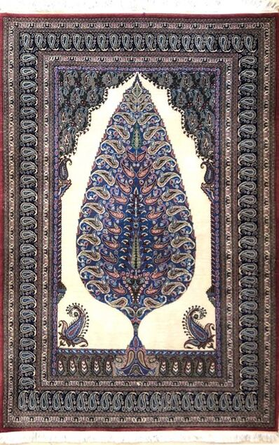 Rug, 'Tree of Life Hand Knotted Persian Qum Rug', 2000