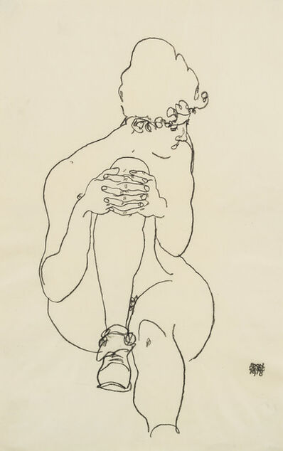 Egon Schiele, 'Seated Nude with Right Knee Raised, Looking to the Right', 1918