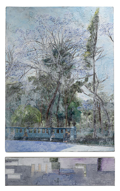 Cecilia Villanueva, 'Jacaranda 1 with Abstract (Diptych) Purple flowers, tree, landscape, park in Mexico City, la Alameda Central blue sky green, bench and people high texture, sand street', 2019
