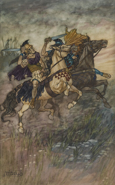 "Charles Folkard, '""These Two Brave Men Met and Fought."" Story illustration for ""Coriolanus"" published in The Children's Shakespeare by Alice Spencer Hoffman (New York: E.P. Dutton & Co., 1911)'"