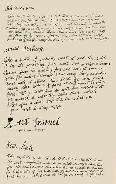 Andy Warhol, 'Tea Ice Cream, Seared Roebuck, Sweet Fennel, Sea Kale', 1959