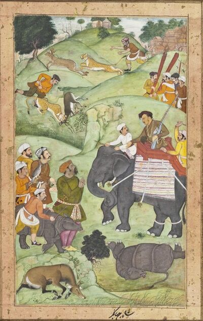 Muhammad Nasir al-Munshi, 'Prince Salim at a Hunt, Folio from a Shikarnama (Hunting Album)', 1600-1604