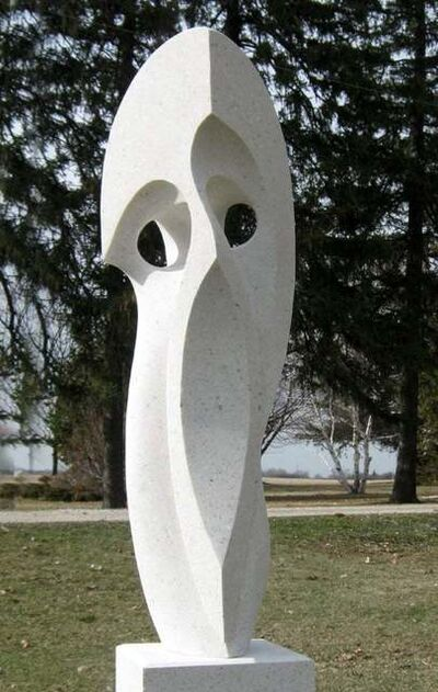 Jeremy Guy, 'Curved Space - A tall white outdoor sculpture with flowing lines and curves', 2021