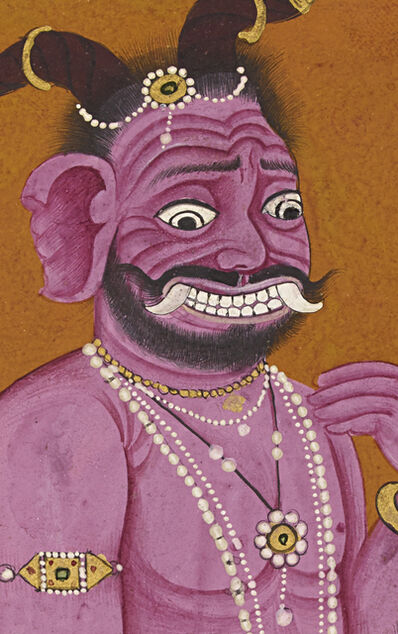 Manaku of Guler, 'The demon Hiranyaksha consults with his father Kasyapa (detail)', ca. 1740