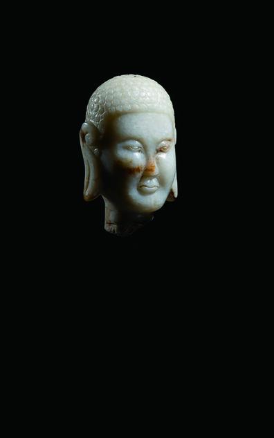Unknown Artist, 'A Pale Grey Jade Head of Buddha 遼 灰玉佛首像', China: Liao Dynasty (907-1125)