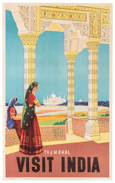 Vintage Travel Poster, 'Visit India, Taj Mahal', 1950s