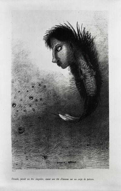 "Odilon Redon, '""Then there appears a singular being, having the head of a man on the body of a fish.""', 1888"