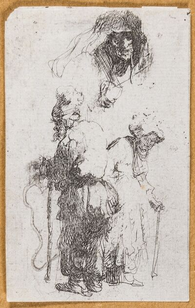 Rembrandt van Rijn, 'Sheet of Studies: Beggar Couple, Head of an Old Woman (fragment)', circa 1632