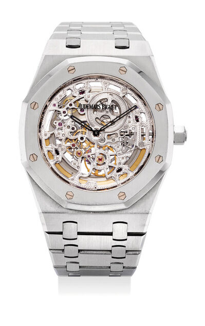 Audemars Piguet, 'A very attractive and rare stainless steel skeletonized wristwatch with bracelet, original certificate and presentation box, numbered 13', Circa 2008