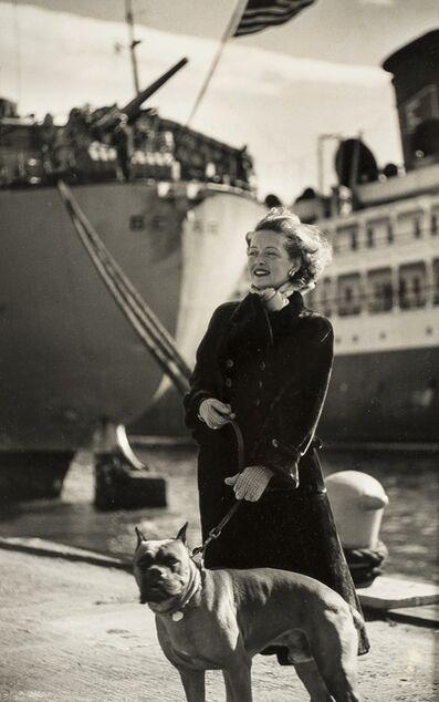 Ronny Jaques, 'Bette Davis, walking her dog in New York docks'