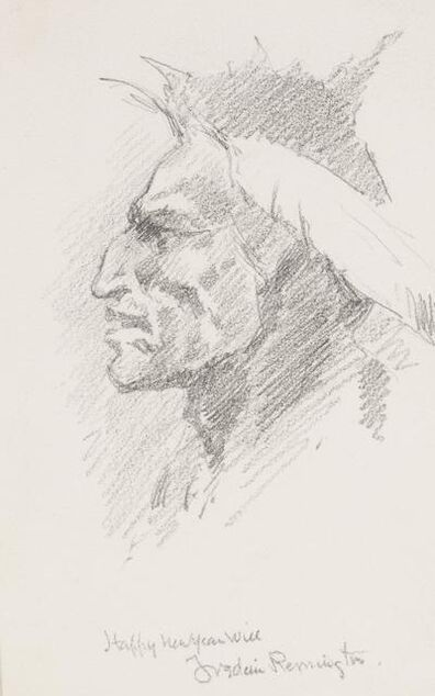 Frederic Remington, 'Indian Head', date unknown