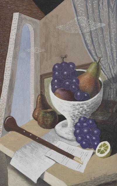 Gino Severini, 'Natura morta con strumento musicale a fiato e coppa di frutta', 1928-29