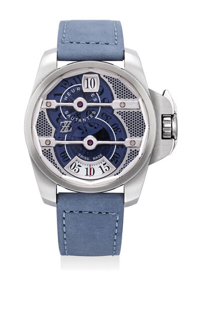ZZ Watches, 'A limited edition stainless steel wristwatch with hours and minutes discs, Guarantee and presentation box, numbered 13 of a limited edition of 888 pieces', 2014