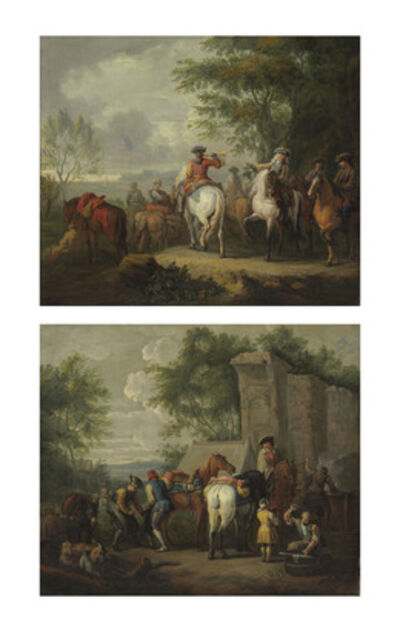 Pieter van Bloemen, called Lo Stendardo, 'Cavaliers setting off on a journey; and A military blacksmith shoeing horses by a ruin'