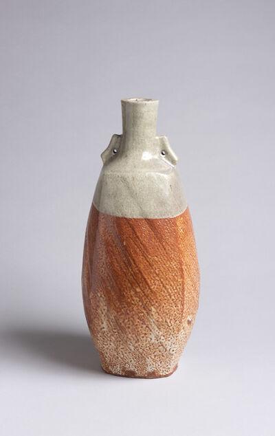 "Warren MacKenzie, 'Tall Vase with Shino glaze and lug ""ear"" handles', ca. 1980"
