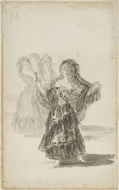 Francisco de Goya, 'Two Majas Embracing (recto); Maja Parading before Three others (verso)', ca. 1796–97