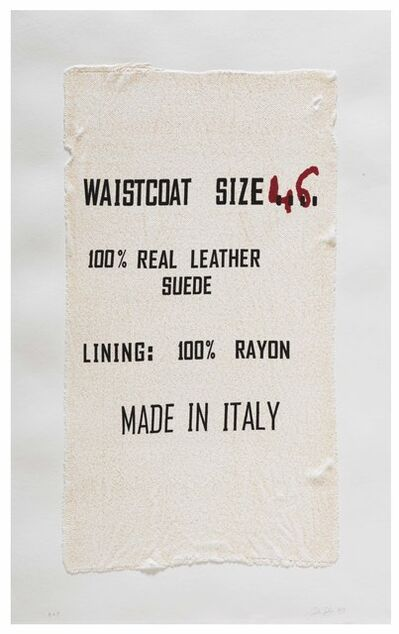 Analia Saban, 'Waistcoat Size 46, Made in Italy, Clothing Tag', 2019