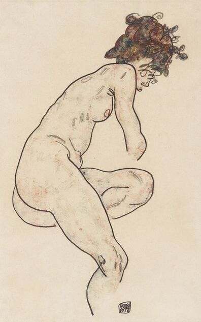 Egon Schiele, 'Seated Nude with Bent Left Knee', 1918